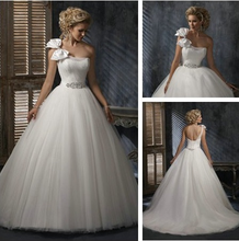 Ball Gown Ivory Organza Utterly Dreamy Design One Shoulder Wedding Dresses Bridal For 2015