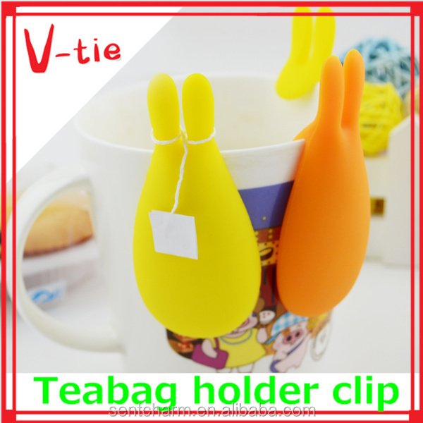 Colorful cup markers,practical tea bag holder,heat resistant silicone finger tip