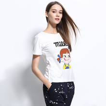 Factory Outlet New Arrival Spring And Summer Short Sleeve Slim Fit Milky Printed White T Shirts