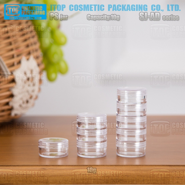SJ-AD10 10g hot-selling good quality round shape wide application unique clear stackable cheap plastic jars