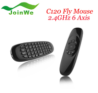 46 keys c120 mini wireless keyboard C120 Air Fly Mouse Gyroscope USB receiver 6 Axis Sensor wireless Mouse for Smart Tv Box