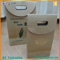 Reusable custom made craft die cut brown supermarket kraft paper bag for food