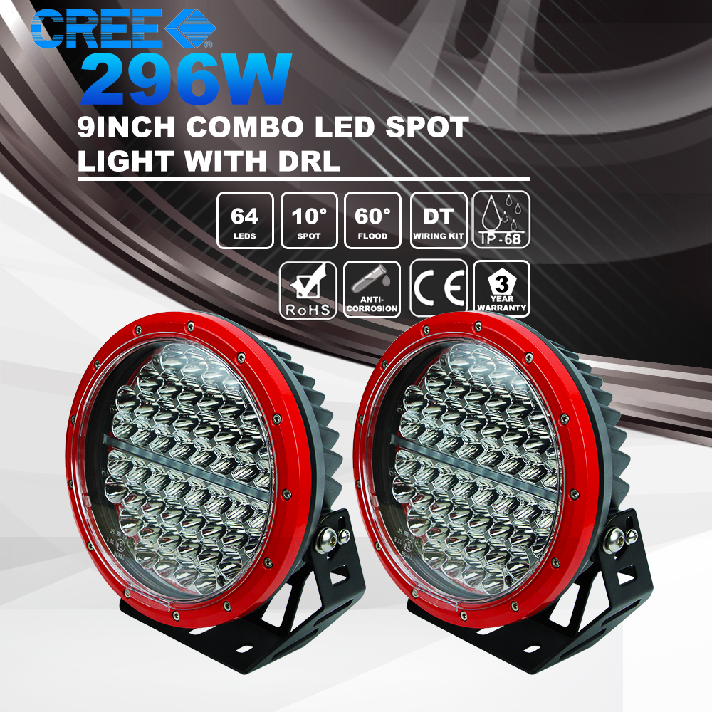 New Arrival 296w 9 Inch Car Led Daytime Running Light Super Bright Off Road LED Driving Lights for Truck 4x4