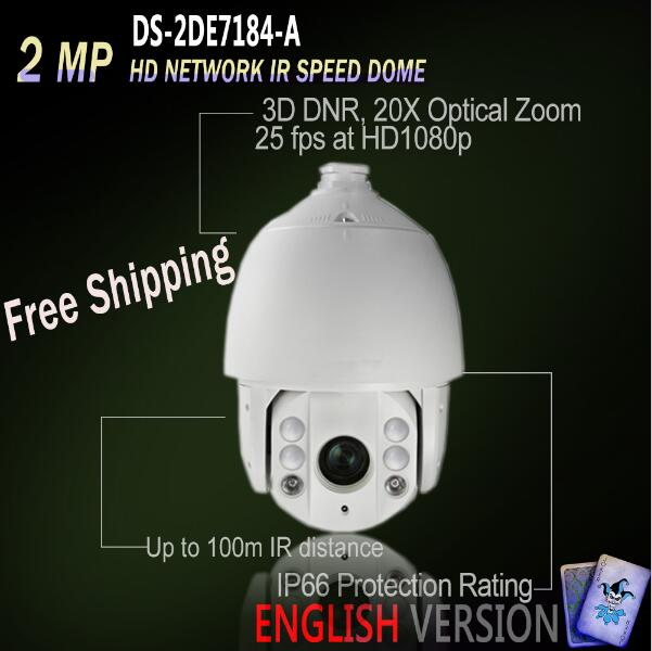 Hikvision PTZ Free Shipping DS-2DE7184-A Original English Version IP 2MP HD Network IR Speed Dome POE 20X Optical Zoom