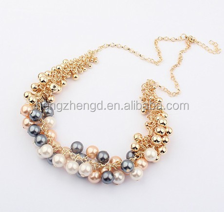 Hot sale fashion retro beauty palace necklace colorful gold bead gray pearl choker wholesale