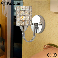 Clear crystal one light art deco iron base crystal lamp wall sconce for bathroom