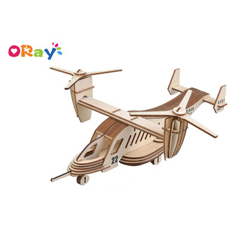 Wholesale 3D wooden puzzle handmade craft gift Airplane model 3d jigsaw puzzle for kids