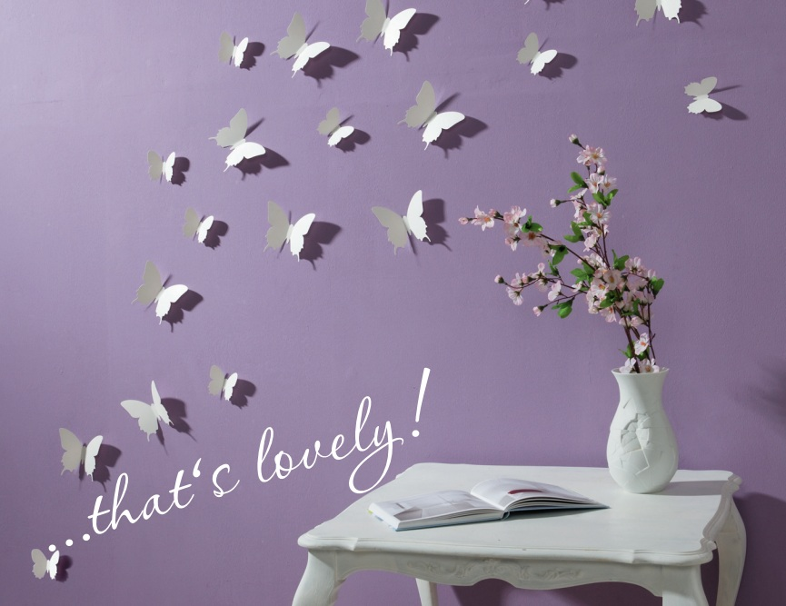 3D Butterfly Wall Stickers / Butterflies Docors / Art / DIY Decorations Paper - White, 12 Butterflies