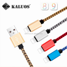 hotsale 1m nylon Braided copper 2A fast charger usb data electrical wire MFI lighting 8pin cable for iphone 5/5s/6/6s