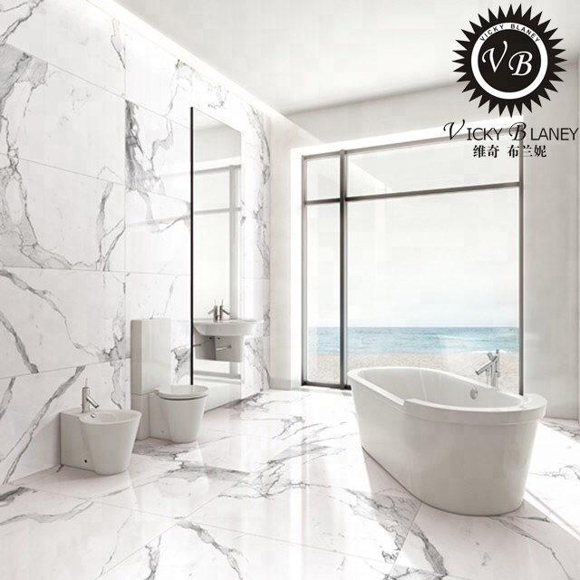 Marble Look White Polished Porcelain Floor Tiles 300x600 Bathroom