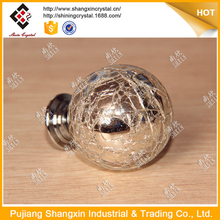 2017 new product furniture hardware glass crackle door knob with silver plating
