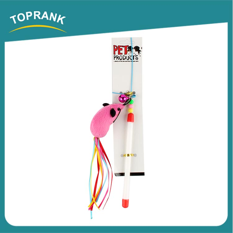 Free samples pink mouse interactive cat teaser stick toys for cats