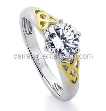 Two Tone Plating 1.0CT Diamond 925 Sterling Silver Celtic Knot Engagement Ring