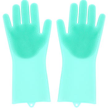 Magic Silicone Brush Scrubber Gloves Heat Resistant, for Dish wash, Cleaning, Pet Hair Care