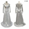 2017 New Silver Long sleeve gown, Evening dress, Futuristic design, Winter War movie character, Freya Ice Queen Costume