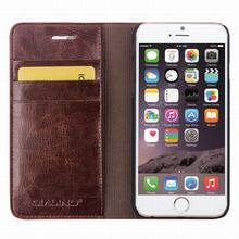 QIALINO Supreme Quality Customized Logo Printed Hand Maded Detachable Wallet Leather Case For Iphone 6