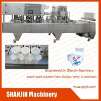 best service filling plastic cup heat tray automatic cup sealing machine / cup filling and sealing machine