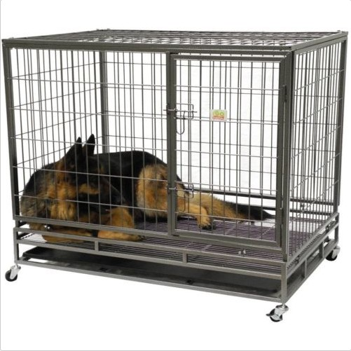 Black large Heavy Duty double dog cage