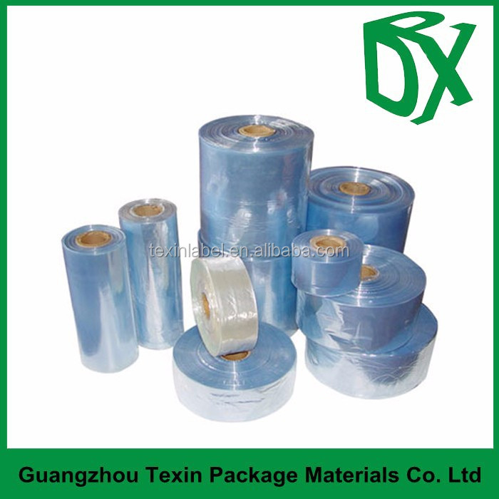 Semi-tube transparent PVC shrink tube wrap film tubular sleeves for plastic drinking bottle package
