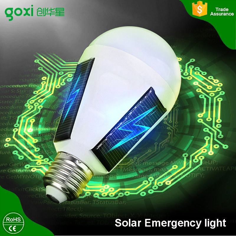 2017 hot new products Solar rechargeable emergency LED light bulb 7W E27