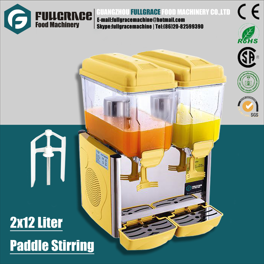 multifunctional 2x12 liter double tank paddle stirring cold drink juice beverage dispenser