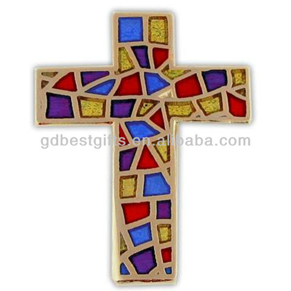 shiny colorful enamel wholesale christian lapel pins with cross shaped