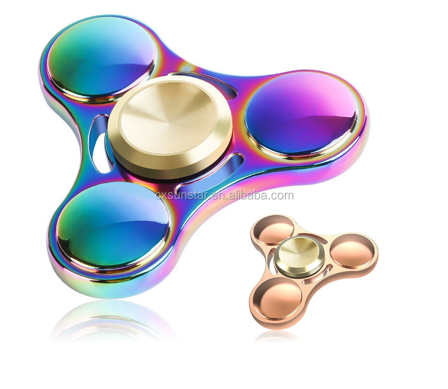 EDC Fidget Spinner Metal Rainbow Anti-Anxiety Toy for Kids&Adults Focus Relieves Stress ADHD Fidget Spinner