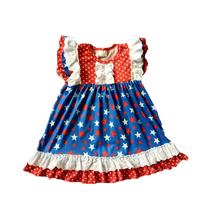 Girls summer fashion dress Baby girls red ruffles white dot frocks