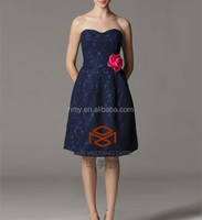 Free Shipping Lace Pattern Bridemaid Dresses Short Prom Dresses Special Occasion Dresses HMY-D206 Navy Blue