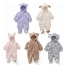 Costom Lovely Coral Fleece Newborn Baby Clothes Animal Overall Winter Warm Longsleeve Baby Unisex Animal Baby Costume