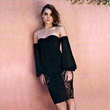 K3238A Hot Sexy Bodycon Woman Dress Design Casual Off-shoulder Long Sleeve Slim Black Lace Dress Women