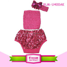 Children kids baba suit wholesale bloomer sweet print panties spandex diaper cover sparkle baby infant sequin bloomers wrap set