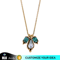 Water Drop Blue Gemstone Fashion Jewellery Indian Gold Chain Pendant Necklace