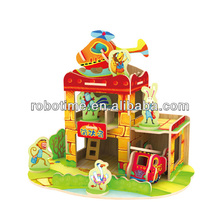 3D wooden Puzzle house model toy for girls
