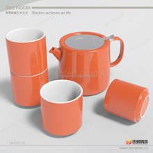 orange printable decorative ceramic teapots with combined teapot cup and infuser