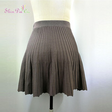 Ladies Dress Hot Sale Fashion Design 100%Viscose A-line Sweater Lady Short Pleated Skirt
