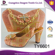 Popular matching peach shoes and bags female bags and shoes italian matching shoes and bags for dress TY6601