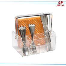 Clear plastic acrylic flatware caddy with handle