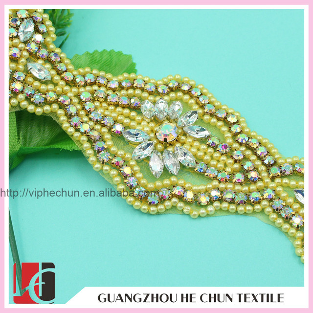 HC-0203 Hand Woven Resin Rhinestone and Pearl Bead Applique for Lace Evening Dress
