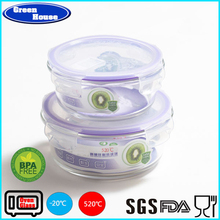 Hot Selling Kitchenware Of Heat Resisting Glass Crisper With PP Cover Round Shape