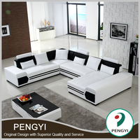 Hot selling living room leather modern new design corner sofa for sale