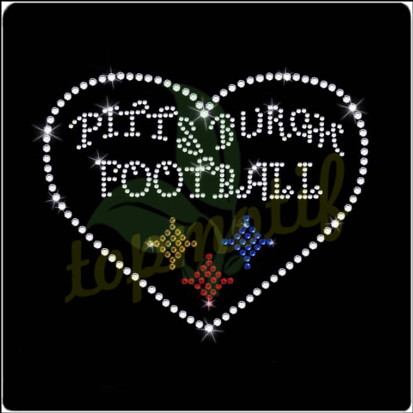 Bling Steelers Football Hot Fix Rhinestone Heart Iron On Motif Transfer For Tee
