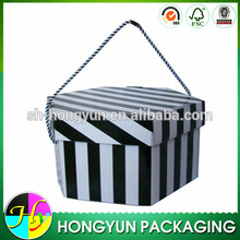 high quality corrugated foldable cardboard box with rope handle