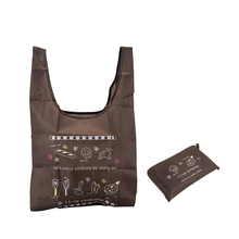 Cheap OEM printed reusable vest handle polyester folding shopping bag