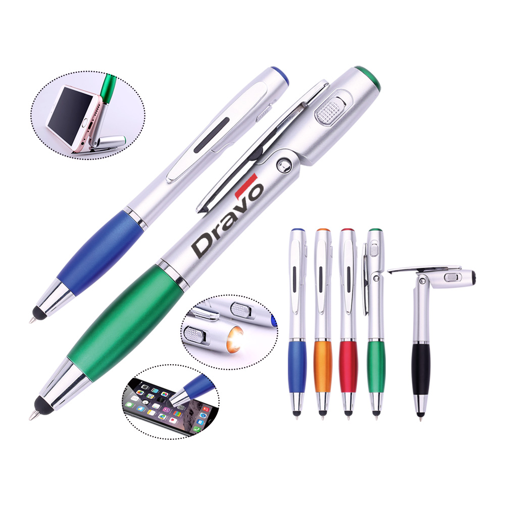 China manufacturer sale 4 in 1 multifunctional Stylus ball pen with phone holder and LED ball pen