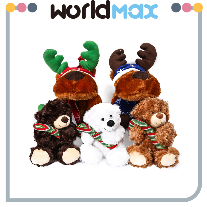 Soft Touching Christmas Reindeer and Bear Oem Plush Toys for Kids