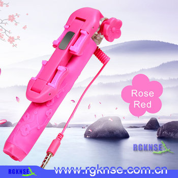2015 rgknse/icanany supply original Rk-mini 5 wired selfie stick monopod with flowder style