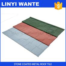 Professional roof manufacturer China Low cost color sand coated steel roofing shingles of