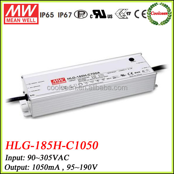 Meanwell HLG-185H-C1050 200w waterproof electronic led driver 1050ma