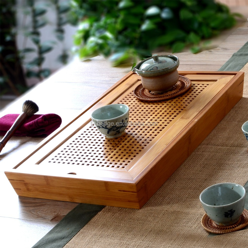 100% Bamboo Chinese Kungfu Square Tea Tray with anti -water paint